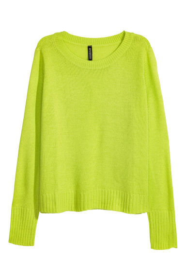 Knitted jumper - Neon green - Ladies | H&M GB