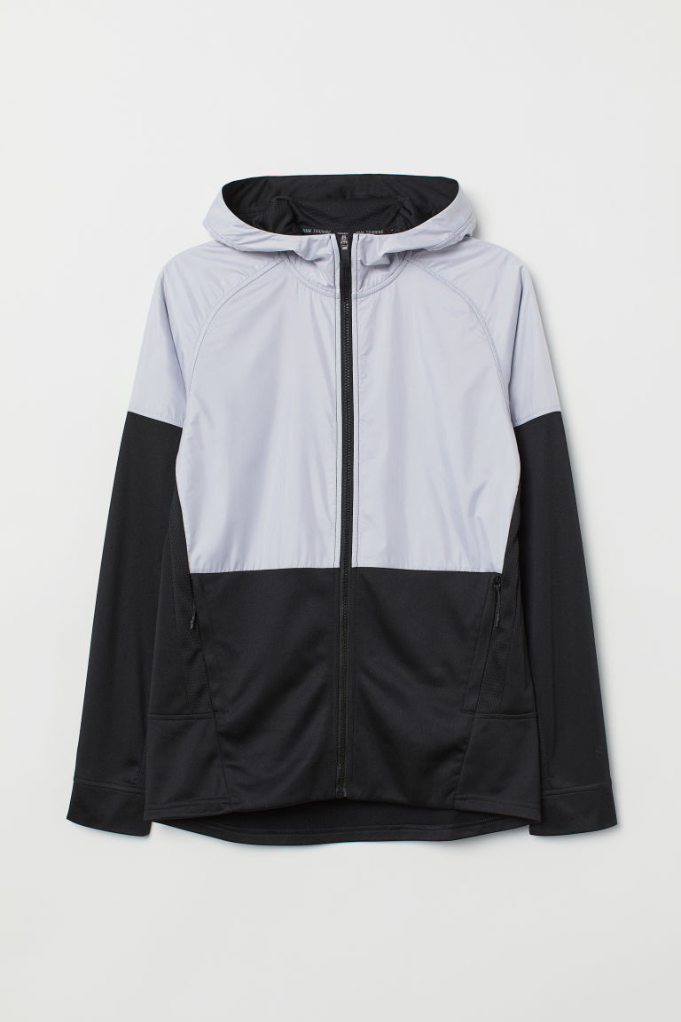 Hooded sports jacket - Light grey/Black - Men | H&M CN
