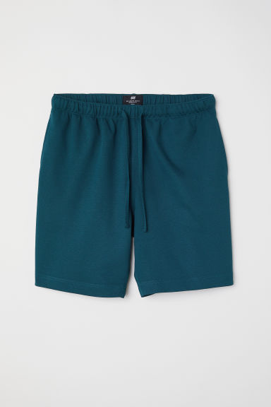 Cotton piqué shorts - Dark turquoise - Men | H&M