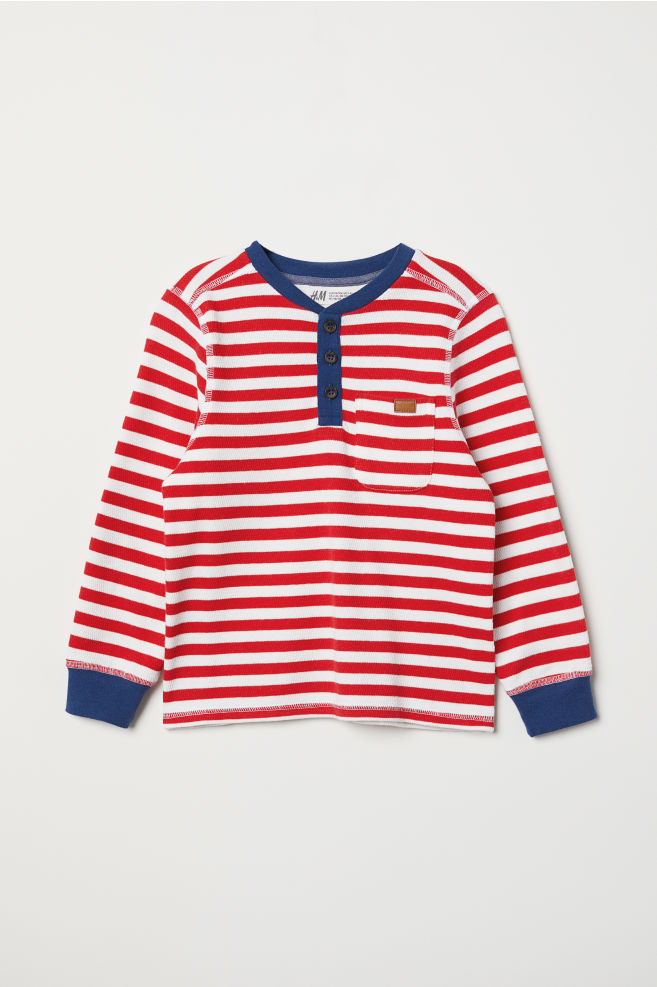 5bc4f64b83773 Henley top - Bright red White striped - Kids