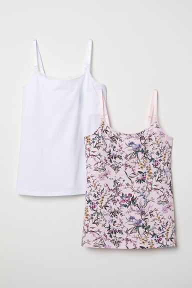 MAMA 2-pack nursing tops - Pink/White - Ladies | H&M CN