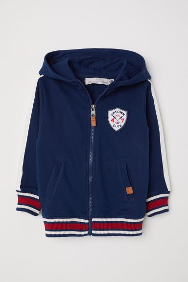 Side-striped hooded jacket - Dark blue - Kids | H&M