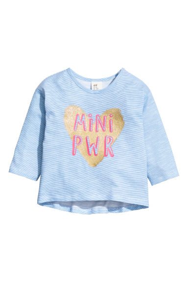 Printed jersey top - Blue striped/Heart - Kids | H&M
