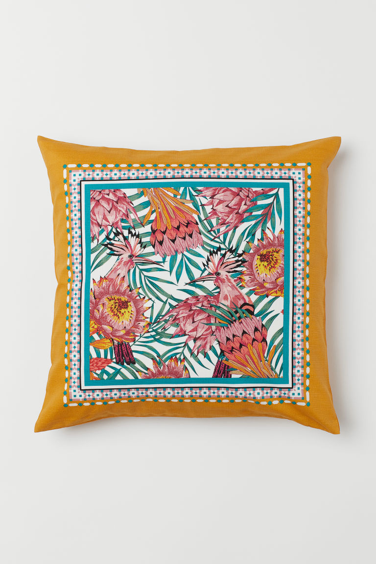 Cushion cover with a motif - Dark yellow -  | H&M CN