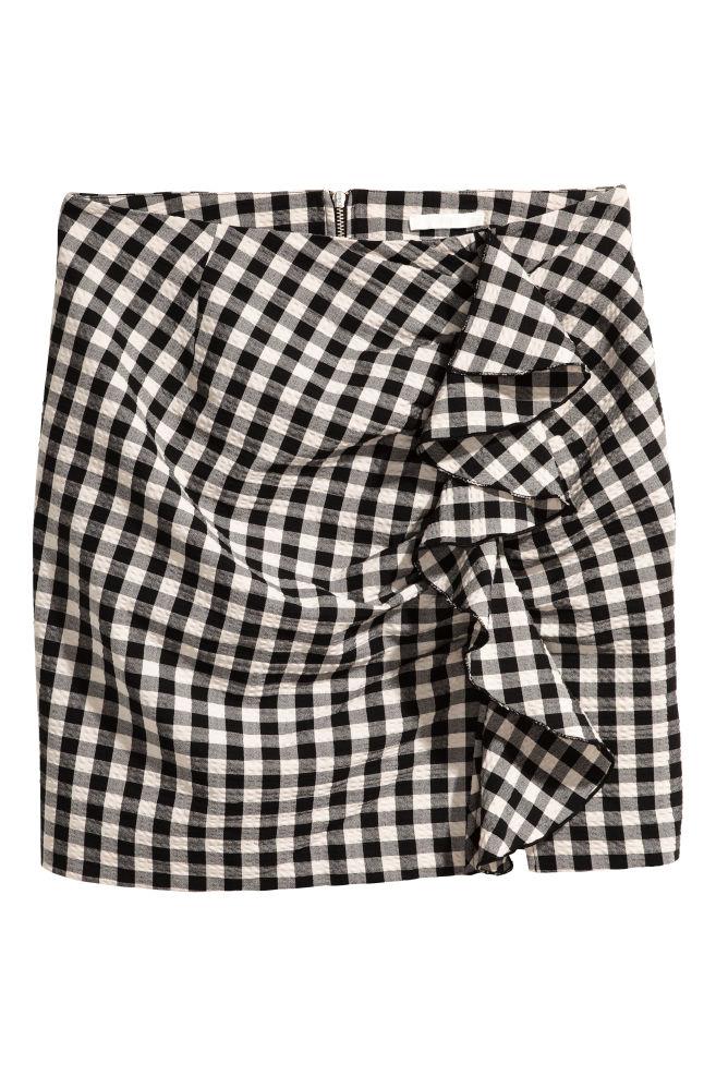0d24655f667 Jupe à volant - Noir blanc carreaux - FEMME