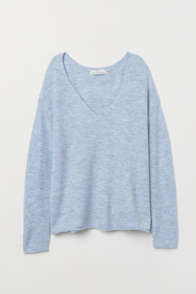 V-neck jumper - Light blue marl - Ladies | H&M CN