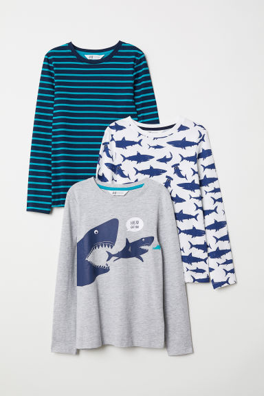 3-pack jersey tops - Light grey/Sharks - Kids | H&M