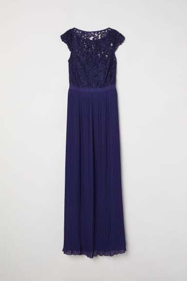 Pleated long dress - Dark blue - Ladies | H&M