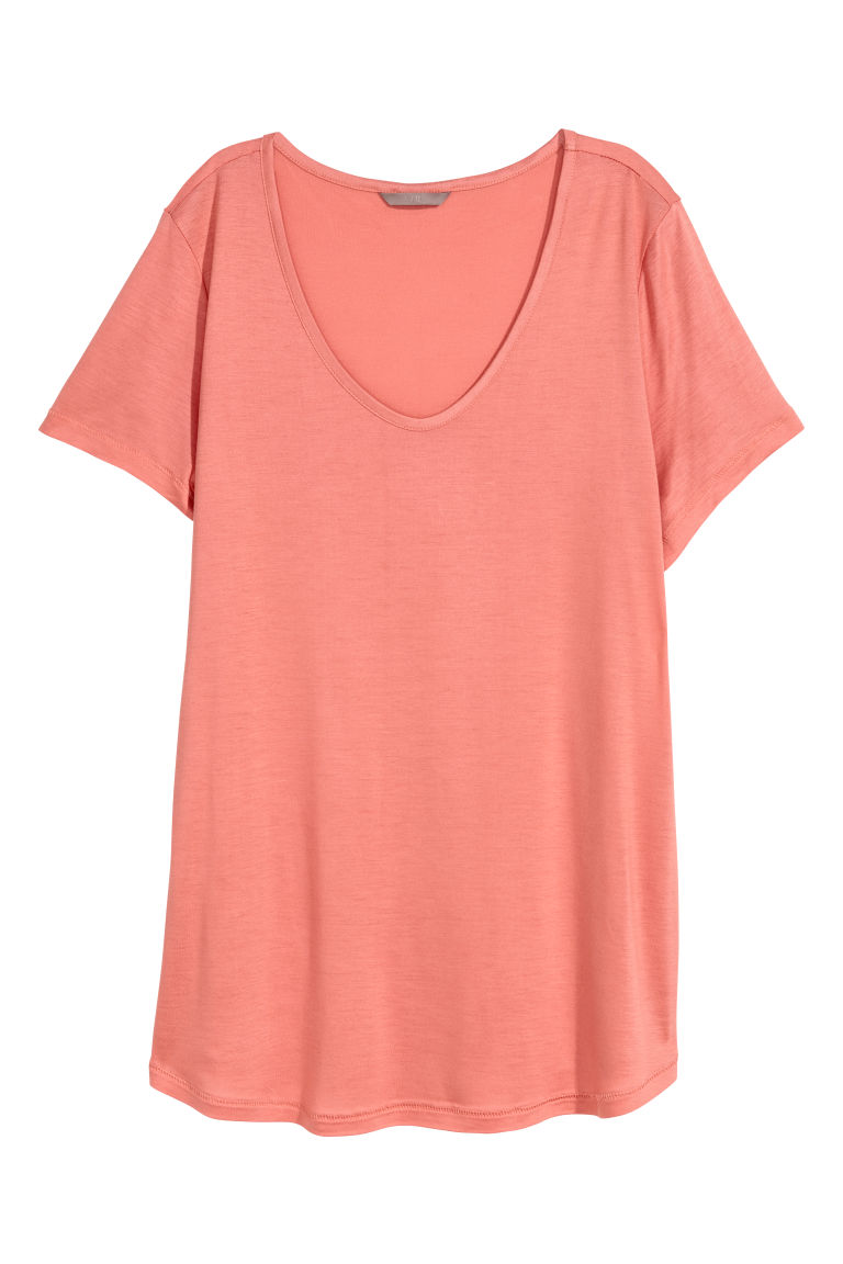 H&M+ Jersey Top - Coral - Ladies | H&M US
