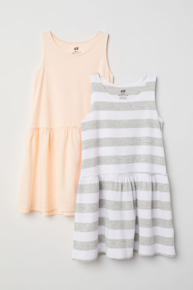 2-pack jersey dresses - White/Striped -  | H&M