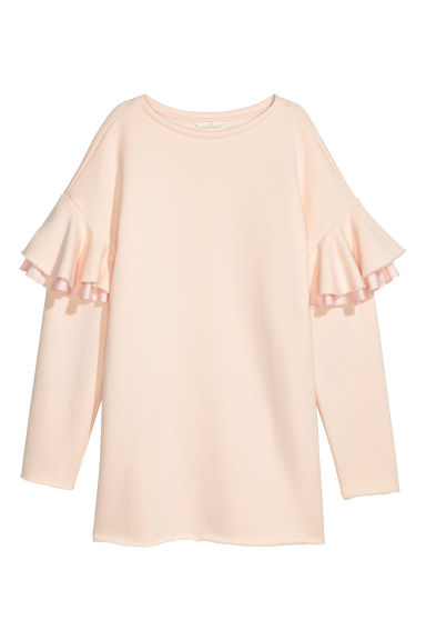 Long sweatshirt with frills - Powder pink -  | H&M