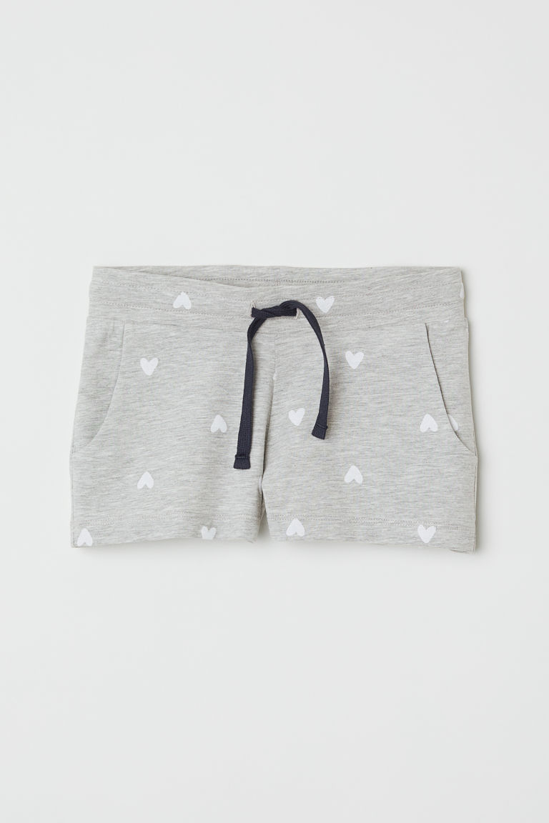 Short jersey shorts - Grey marl/Hearts - Kids | H&M