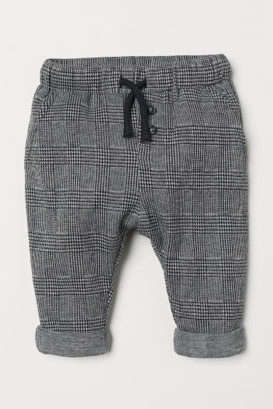Trousers - Black/White checked - Kids | H&M CN