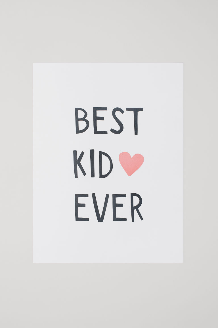 Poster - White/Best Kid Ever - Home All | H&M CN