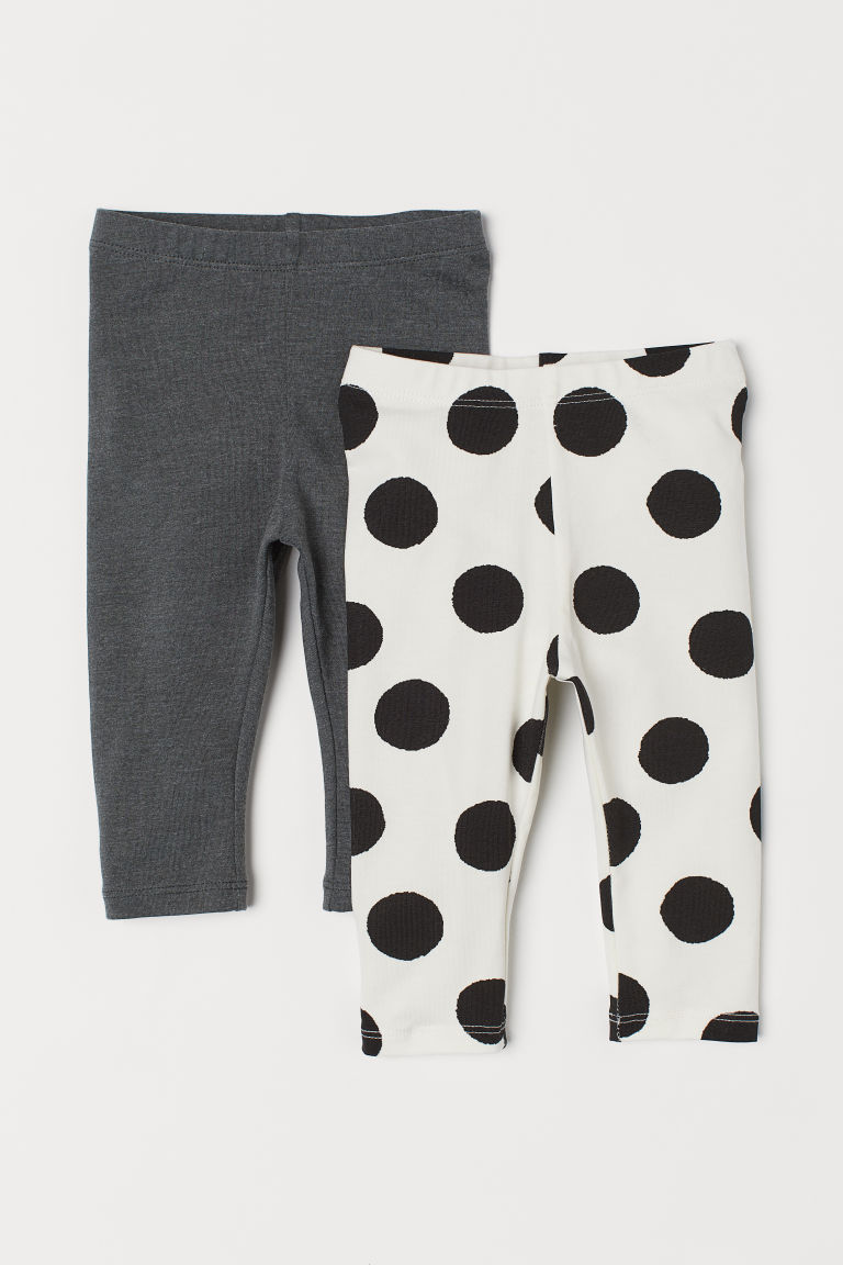 2-pack leggings - White/Spotted - Kids | H&M CN