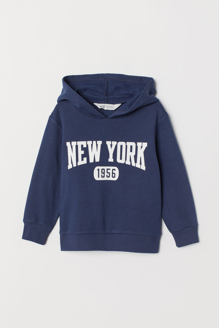 Felpa con cappuccio e stampa - Blu scuro/New York - BAMBINO | H&M IT