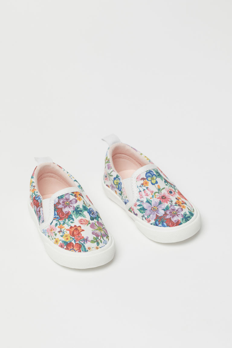 Patterned slip-on trainers - White/Floral - Kids | H&M