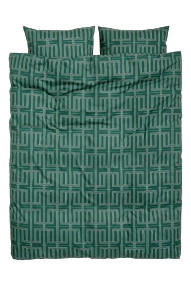 Patterned duvet cover set - Dark green/Patterned -  | H&M CN