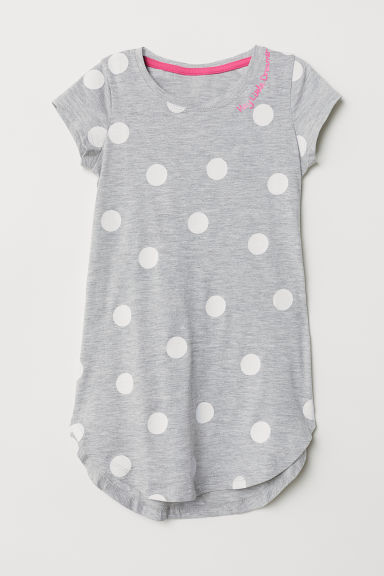 Glitter-patterned nightdress - Grey marl/Spotted - Kids | H&M