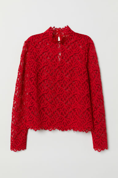 Lace top - Red - Ladies | H&M
