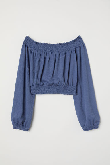 Off-the-shoulder top - Dusky blue -  | H&M CN