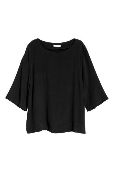 Short-sleeved blouse - Black -  | H&M GB