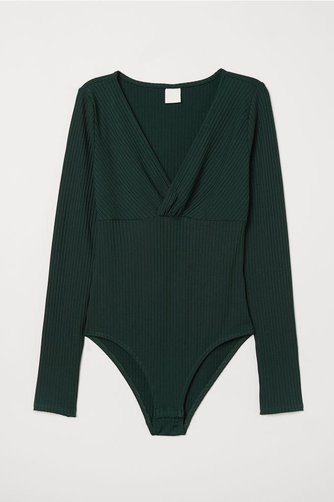 42e03b80 V-neck Bodysuit - Dark green - Ladies | H&M ...