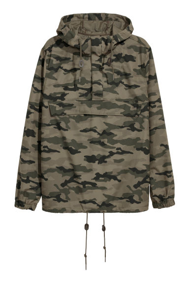 Hooded popover jacket - Khaki green/Patterned - Men | H&M