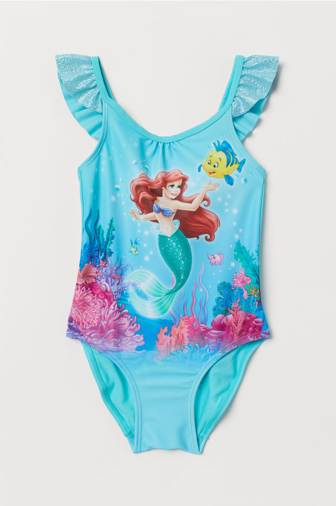 14e972308d968 Swimsuit with Flounce - Turquoise/Ariel - Kids | H&M ...