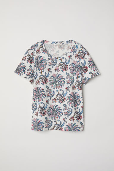 Top with a motif - White/Floral - Ladies | H&M CN