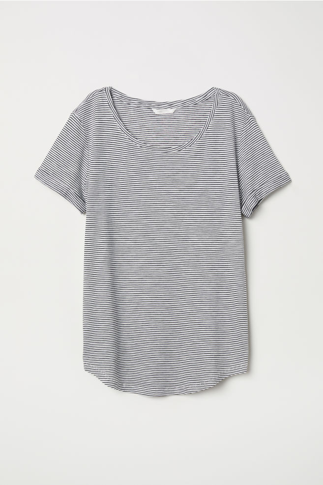 96ca69065a777 ... Slub jersey T-shirt - Natural white Blue striped - Ladies