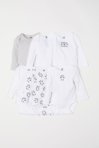 6-pack long-sleeved bodysuits - White/Panda - Kids | H&M