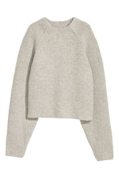 Knitted wool jumper - Light grey marl - Ladies | H&M IE