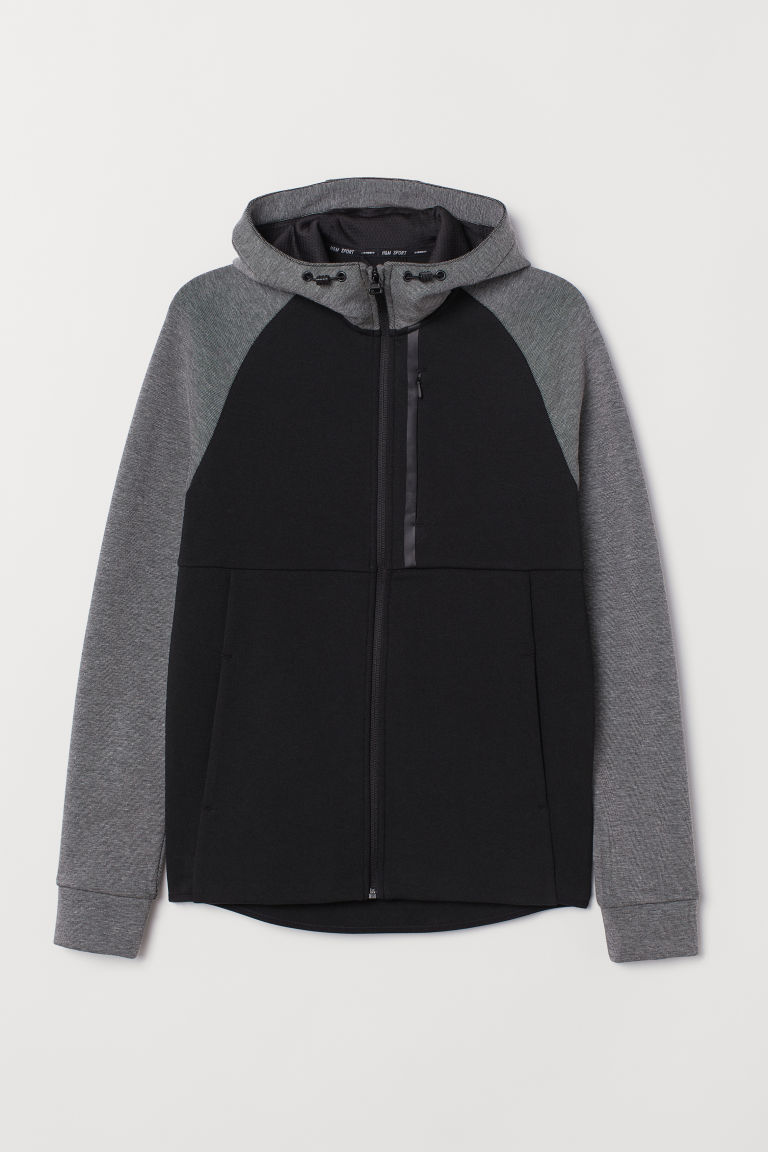 Hooded sports top - Black/Grey marl -  | H&M