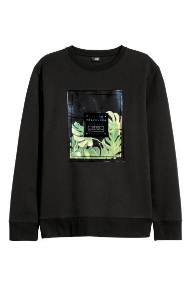 Sweatshirt with motifs - Black - Men | H&M