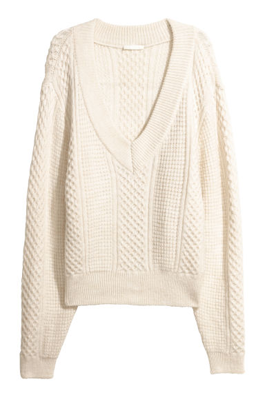 Pattern-knit jumper - Natural white -  | H&M