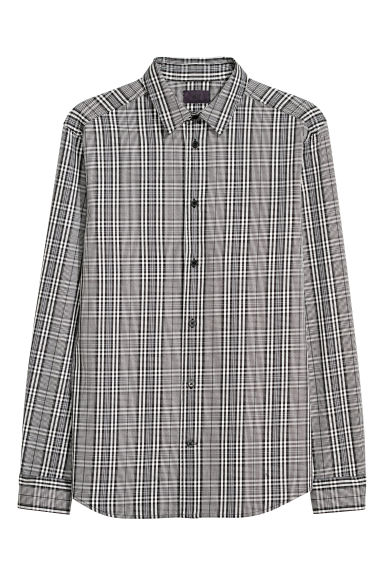Checked cotton shirt - Black/White checked - Men | H&M CN