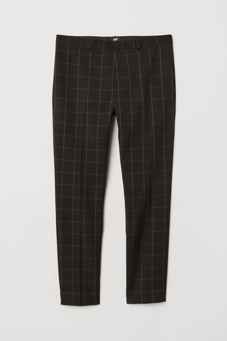 Suit trousers Skinny Fit - Dark blue/Checked - Men | H&M CN