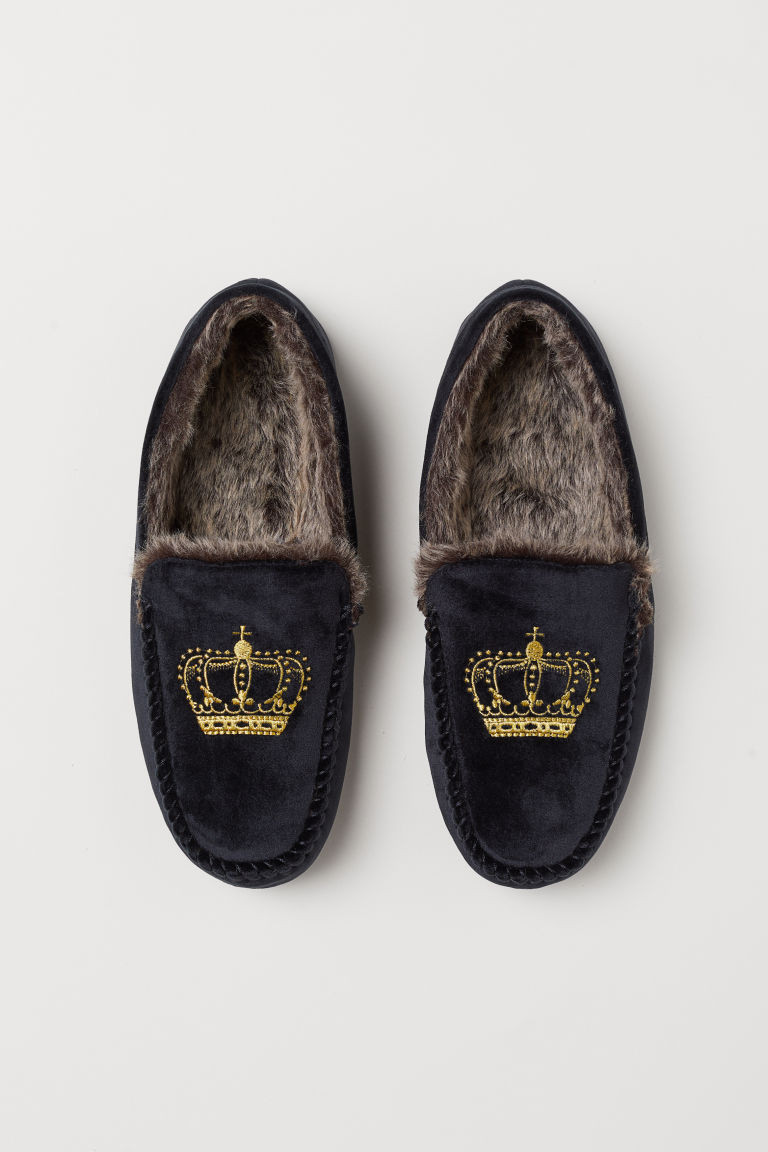 Faux fur-lined slippers - Black - Men | H&M