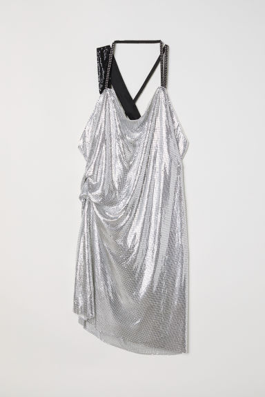 Draped halterneck dress - Silver-coloured - Ladies | H&M CN