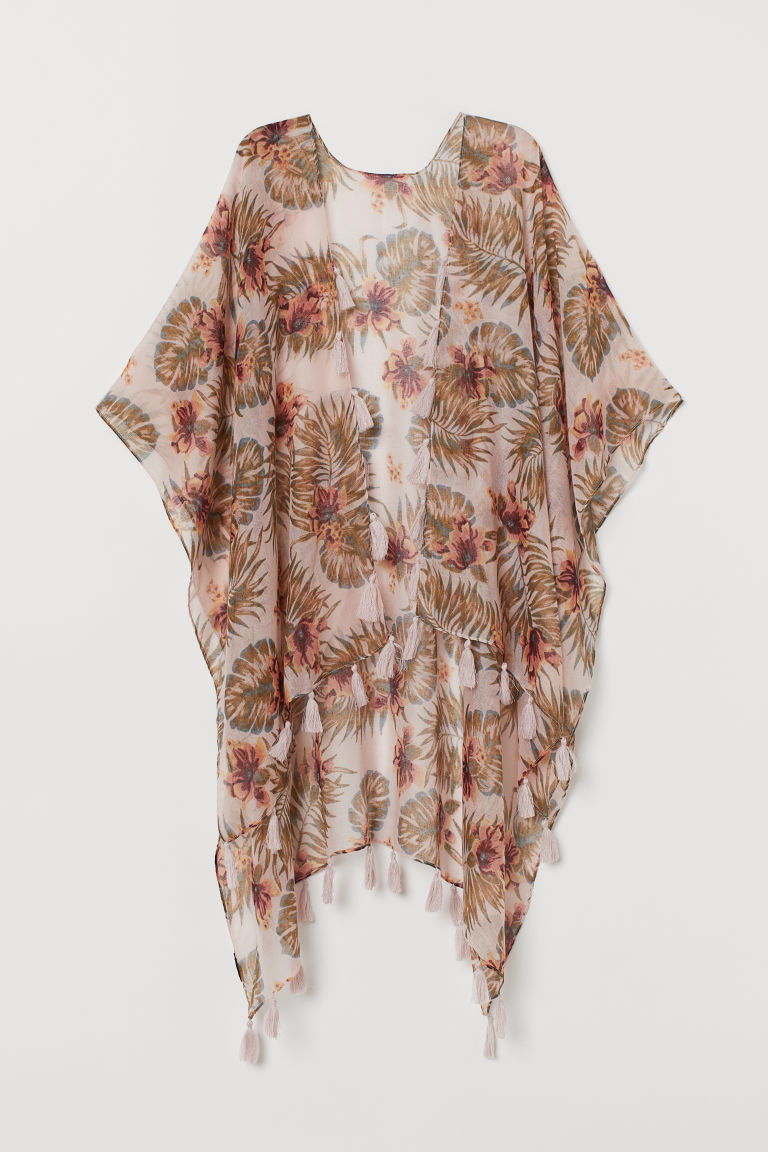 Airy Poncho - Pink/large floral -  | H&M US