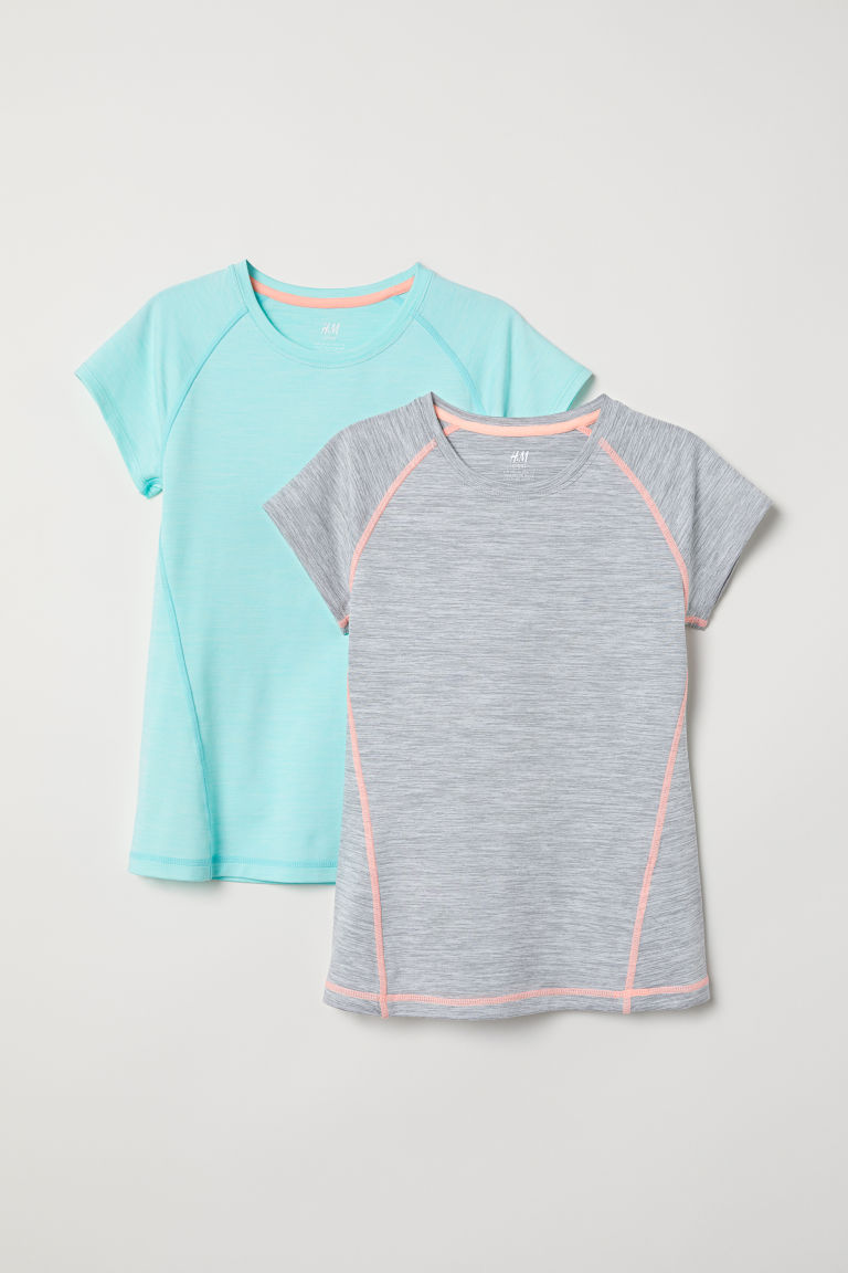 2-pack sports tops - Light turquoise marl - Kids | H&M CN