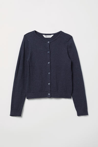 Fine-knit cardigan - Dark blue - Kids | H&M