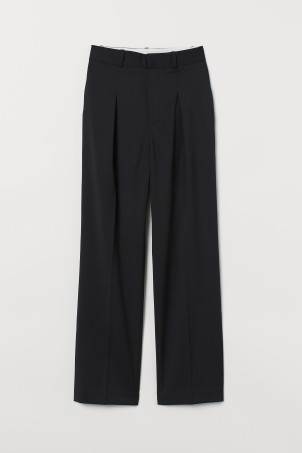 High-waisted wool-mix trousers