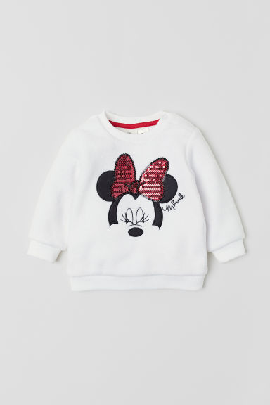 Velours sweater met pailletten - Wit/Minnie Mouse - KINDEREN | H&M BE