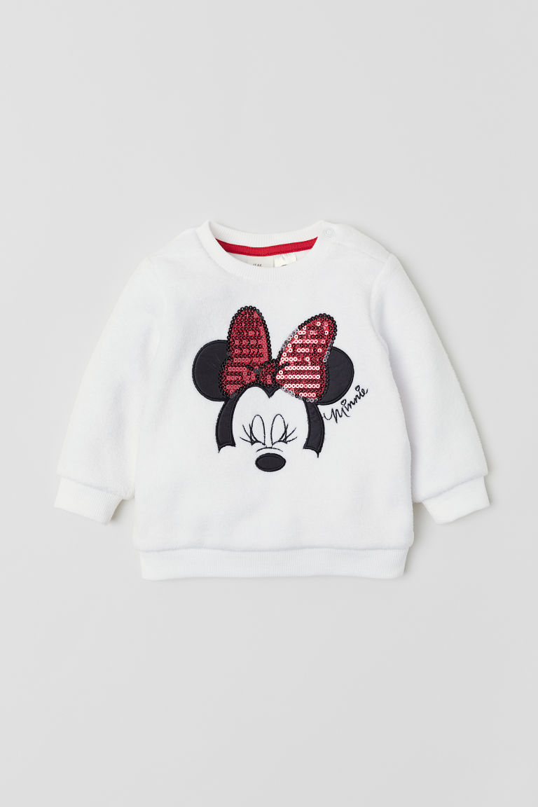 Velour top with sequins - White/Minnie Mouse - Kids | H&M