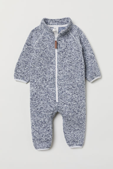 Knitted fleece all-in-one suit - Dark blue marl - Kids | H&M CN