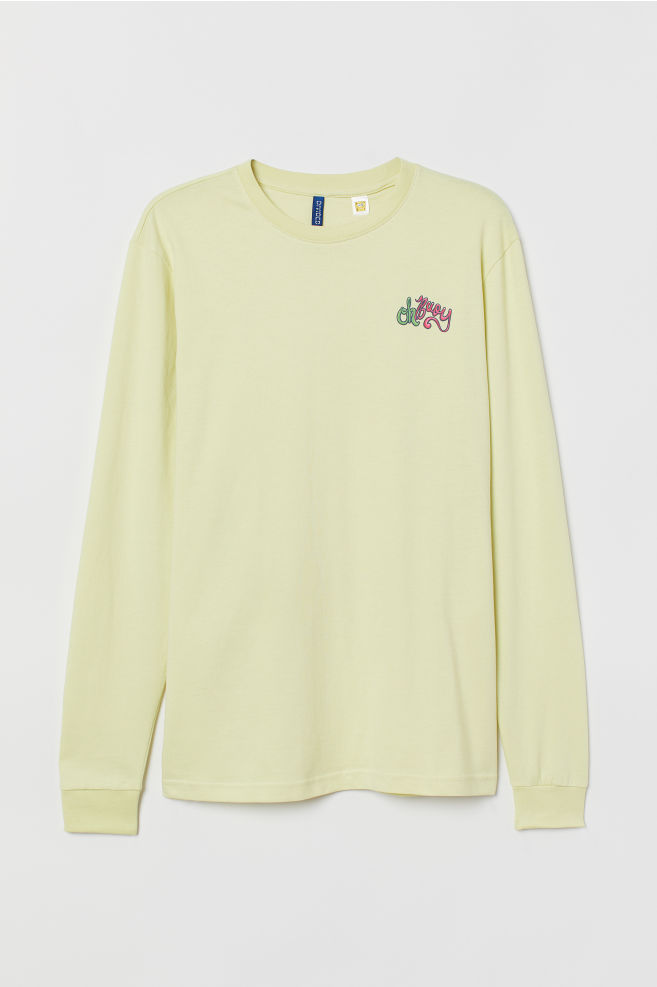 7737f73ccbe320 Long-sleeved jersey top - Light neon yellow/SpongeBob - Men | H&M GB