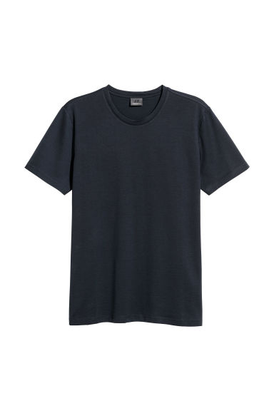 Premium cotton T-shirt - Dark blue - Men | H&M CN