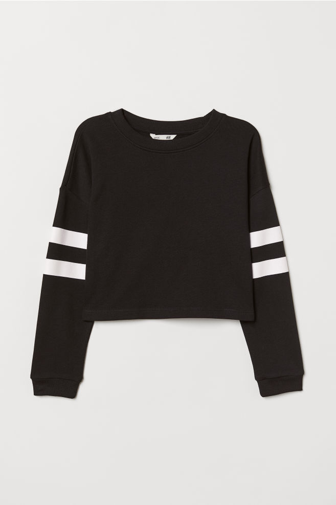 4e5cb5252b Kurzes Sweatshirt - Schwarz - Kids   H&M ...